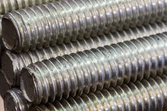 Stack of round steel bar. Stock Photo
