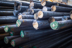 Stack of round steel bar Royalty Free Stock Photo