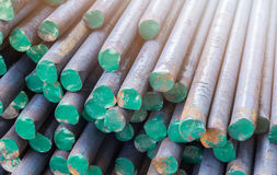 Stack of round steel bar Royalty Free Stock Photos