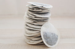Stack of round tea bags Stock Photo