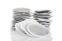 Stack of round tea bags. On a white background Stock Photography