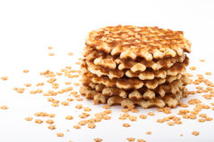 Stack of round waffles on white background with many stars Royalty Free Stock Image