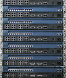 Stack of routers and switches. Rack of network equipment (routers and switches Stock Photography