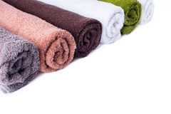 Stack row roll bath towels colorful textile object Stock Photography