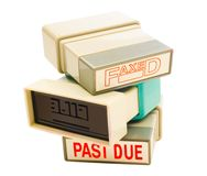 Stack of rubber stamps stock images