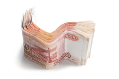 Stack of Russian money. Modern five thousandth roubles notes on white Royalty Free Stock Image