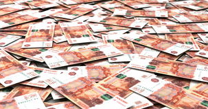 Stack of Russian Ruble stock video