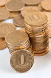 A stack of Russian ten-coin Stock Image