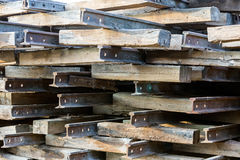 Stack of rusted railroad tracks Royalty Free Stock Photography