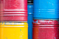 Stack of  rusty chemical barrels Stock Photos