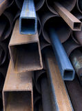 Stack of rusty steel pipes.  Royalty Free Stock Photography