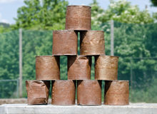 Stack of rusty tins Stock Photo