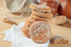 Stack of rye flat bread Stock Photo
