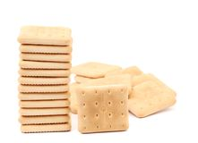 Stack saltine soda cracker Royalty Free Stock Images