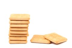 Stack of saltine soda crackers Royalty Free Stock Photo