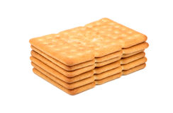 Stack of salty cracker. Rectangular stack of salty cracker isolated on white background Royalty Free Stock Images