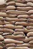 Stack of sandbags. Barricade of heavy sandbags at the military training center stock photography