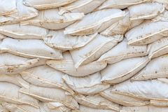 Stack sandbags. In flood area Royalty Free Stock Image