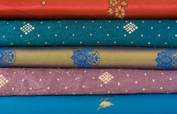 Stack of Sari Fabric Stock Photo