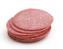 Stack from sausage slices. Isolated on the white background Royalty Free Stock Image