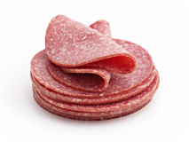 Stack from sausage slices. Isolated on the white background Stock Images