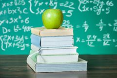 Stack of school textbooks Royalty Free Stock Photos