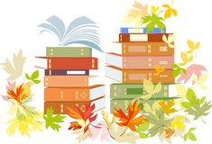Stack of schoolbooks with autumn leaves Stock Images