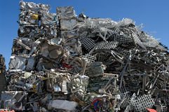 Stack scrap metal. Pile of scrap metal in a scrapyard stock images