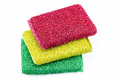 Stack of scrubbing sponges, washing sponges isolated on white Stock Image