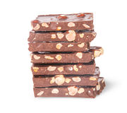 Stack of seven chocolate bars Stock Image