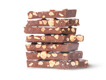 Stack of seven chocolate bars rotated Stock Image