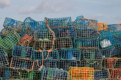 Fishing traps. Stack of several colorful fishing traps Stock Image