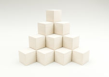 Stack in the shape of a pyramid of stacked wooden cubes 3d illus Royalty Free Stock Images