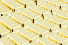 Stack of shiny gold bars / ingots in the central vault / storage room. Royalty Free Stock Photography