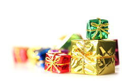 Stack of shiny presents Stock Images
