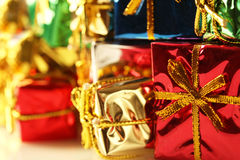 Stack of shiny presents Stock Image