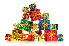 Stack of shiny presents. Isolated on white Royalty Free Stock Photography