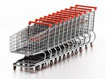Stack of shopping carts isolated on white background. 3D illustration royalty free illustration