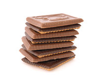 Stack of shortbread butter biscuits with chocolate Royalty Free Stock Images