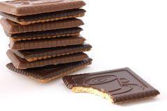 Stack of shortbread butter biscuits with chocolate Stock Photos