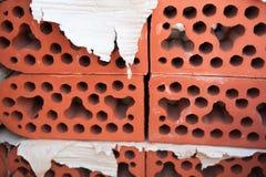 Stack of silicate bricks. Closeup. Royalty Free Stock Photos