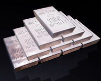 Stack of Silver bars Royalty Free Stock Images