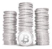 Stack of silver bitcoins Stock Photography