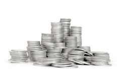 Stack Silver Coin, Success. Or crisis. High resolution color image Stock Photos
