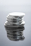 Stack of silver coins Royalty Free Stock Photography