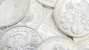 Stack of silver coins Royalty Free Stock Image