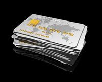 Stack of silver credit cards Royalty Free Stock Images