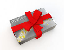 Stack of silver gift cards wrapped in a red bow Stock Photo