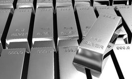 Stack of silver ingots royalty free stock photography