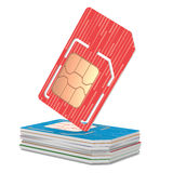 Stack of Sim Cards Illustration, Dual Sized Royalty Free Stock Photography